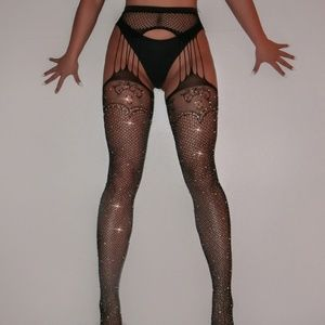❤️NEW Sexy Bling Fishnet Garter Stockings #D39